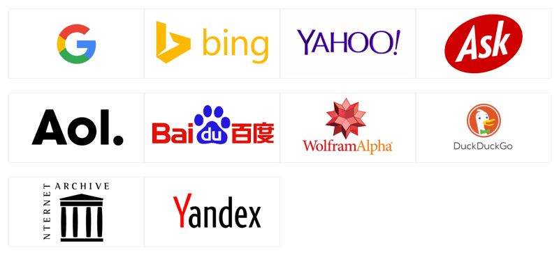 Top Ranking List of Search Engines